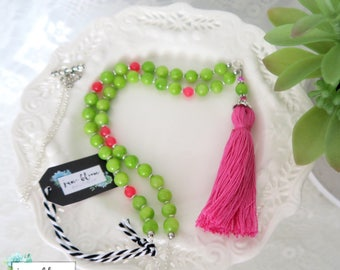 Green Necklace - Chartreuse Necklace - Green and Pink - Fringe Necklace - Tassel Necklace - Beaded Necklace - Accessories for Green Shirt