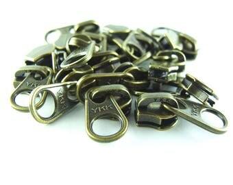 YKK #5 Brass Zipper Slider Metal Teeth Antique,Long and short (10 Sliders / Pack)