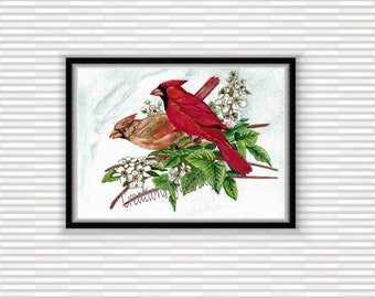 digital download, print, download, wall decor, watercolor, home, image, illustration, decor, bird, cardinal