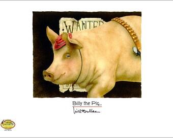 Will Bullas / art print / Billy the Pig... / humor / animals / pig