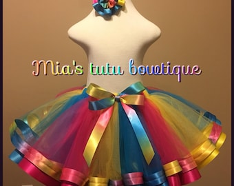 Rainbow tutu and hair bow