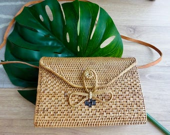 Lila Rectangular Woven Rattan Bag, Shoulder Bag, Crossbody Bag, Basket Bag