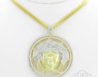Mens 14k Gold Over .925 Sterling Silver Gold Medusa Versace 3.2ct Lab Diamond Pendant ICY