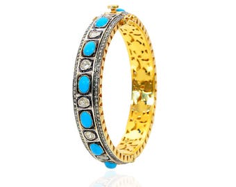 Polki Diamond Bangle With Turquoise