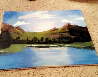 Acrylic Mountain Scene