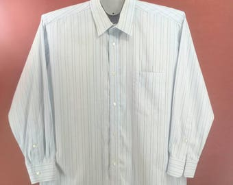 Vintage Issey Miyake Men Shirt Long Sleeve Stripe Pattern Soft Blue Colour Designer Comme des Garcon Yohji Yamamoto Shirt
