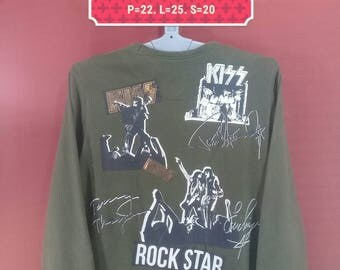 Vintage Kiss Sweatshirt Rock Star Shirt Spellout Shirt Concert With Printed Signature Green Colour Concert Sweatshirt Band Shirt Iron Maiden