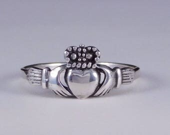 Traditional Irish Claddagh Ring Sterling Silver Ring