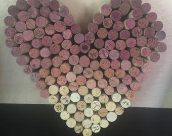 Wine cork heart wall art