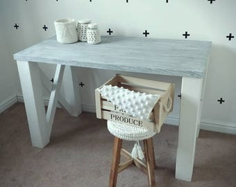 Shabby chic desk, rustic desk, weathered wood desk, Rustic, Weathered, white wash styled desk. Industrial desk. Farmhouse desk. Desk