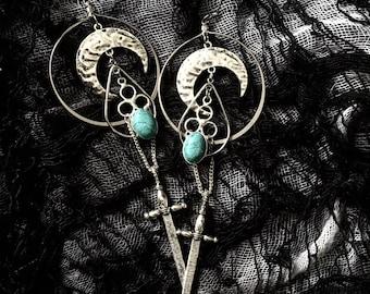 Sword & Stone Hoop / Dangle Earrings