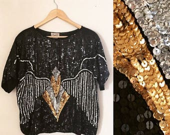 Vintage Xoanon 70s 80s Disco Black Gold Silver Silk Sequins Shirt Tunic Dressy Shell Top Blouse oversized plus size L XL extra large