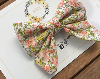 Pink Floral Sailor Bow, Floral Sailor Bow, Sailor Bow, Cotton Bow