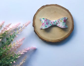 Spring Floral Bow, Floral Bow, Faux Leather Bow