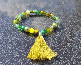 Handmade bracelet green with tassel