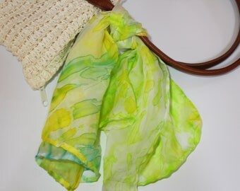 delicate silk foulard hand dyed with the arashi shibori technique/green and yellow/stole/scarf/100%silk 24x24 in