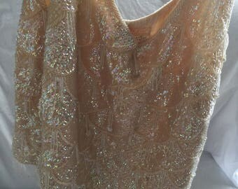 vintage beaded sequin top 1950s bombshell rockabilly