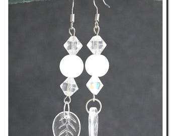 Transparent earrings and Opal white