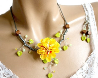 Yellow and Green Flower Adornment