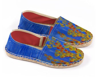Espadrilles- Yellow & Red Coral on Blue
