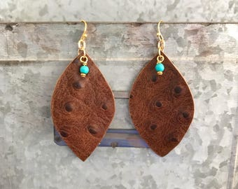 Textured Leather Earrings with Adorable Turquoise Bead