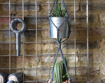 Macrame Double Plant Hanger in Charcoal