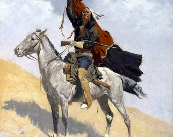 The Blanket Signal Painting by Frederic Remington Art Print Reproduction