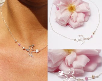 "Dove ""openwork"" necklace in 925 sterling silver, Pearl Pink jade and freshwater pearls"