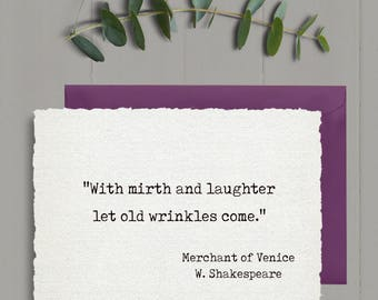 Romantic first anniversary Shakespeare quote, romantic anniversary card, literary card