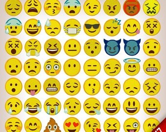 Emoji Emoticons Collection of 58 pack Embroidery Design 2017 New Emojis