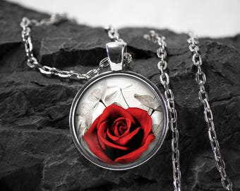 Flower Rose Glass Pendant Rose necklace Flower jewelry rose gift photo pendant art pendant photo jewelry art jewelry  glass jewelry