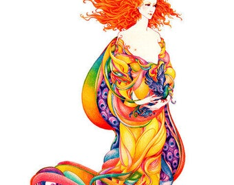 Goddess Archival Quality Print of Colour Pencil Drawing, Mythology, Fantasy Illustration