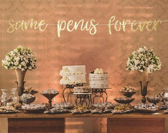 same penis forever banner, bachelorette banners, bridal shower banner, hen party banner, engagement banner, same penis forever sign