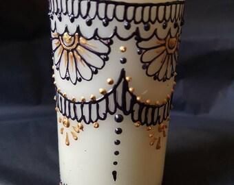 Henna Mehndi Pillar Candle - Home Decor
