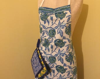 Traditional Tieback Apron - Blue