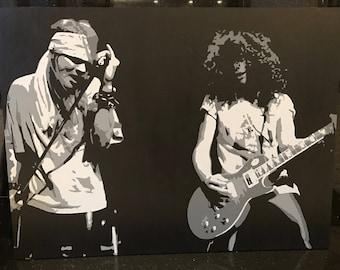 Slaxl. Axl Rose Slash Guns N' Roses stencil painting