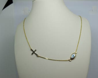 Ivory Necklaces  with Gold 14k Eye Cross