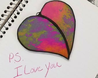 I love you, heart, stained glass, Sun Catcher, ornament