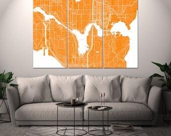 Seattle Washington / City Map / Canvas Print / Wall Art / Large 3, 5 or 6 panel