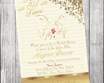 Beauty And The Beast Invitations Etsy