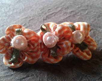 retro 3 fleursvichy hair pin, orange Pearl Heart
