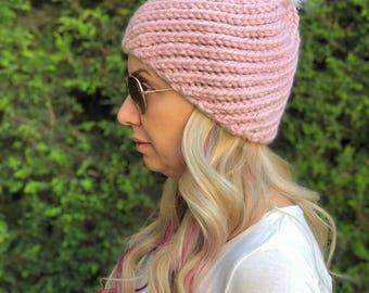 Pink Beanie, Slouchy Beanie, Beanie Hat, Pom Pom Beanie, Knit Beanie, Adult Beanie, Accessories, Winter Accessories, Women, Winter Beanies,