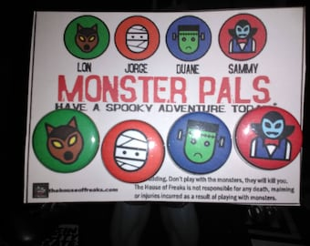 Cute Monster Pals button set