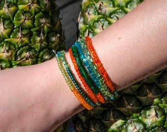 Orange/Green/Turquoise beaded wrap bracelet
