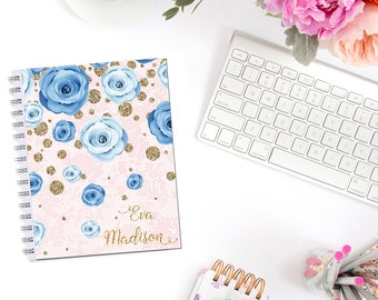 Blue Roses Planner Cover Personalized Dashboard Erin Condren Recollections A5 Personal Pocket Personal