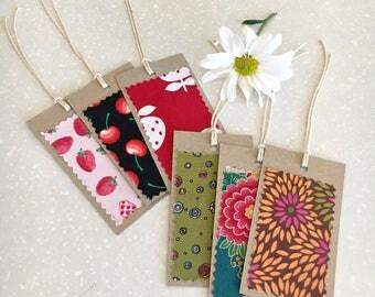 Gift tag SET x6 - vintage textile assorted
