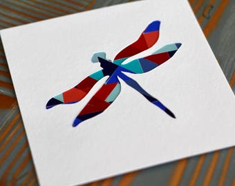 Dragonfly Collage and Papercut-Modern Nursery Wall Art and Decor