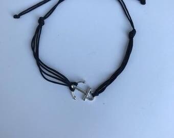 Adjustable black anchor friendship bracelet (#00014)