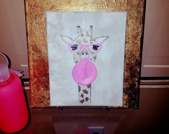 Giraffe bubble gum canvas