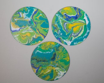 Trio of Circles Fluid Art Paintings